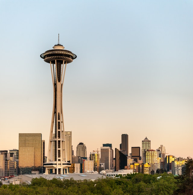 Space needle in Seattle where there are cat cafes